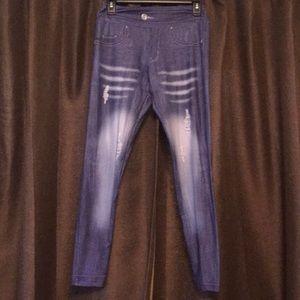 Pants - Charlie's Project New Jean Look Alike Legging